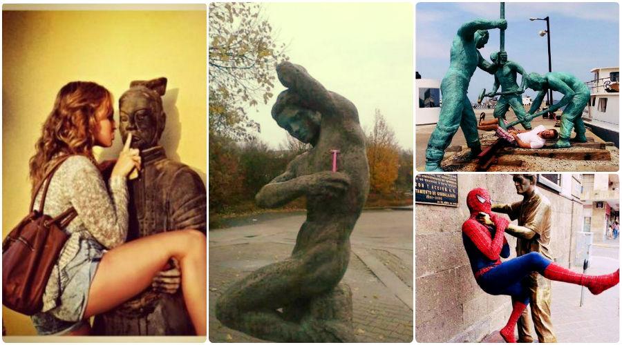 poze amuzante cu statui
