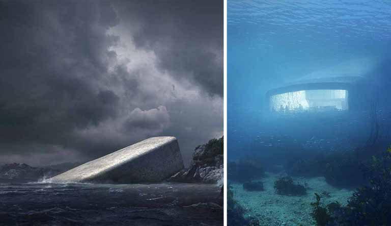 Acest restaurant subacvatic arată ca o piatră uriaşă. Însă interiorul te va lăsa fără cuvinte