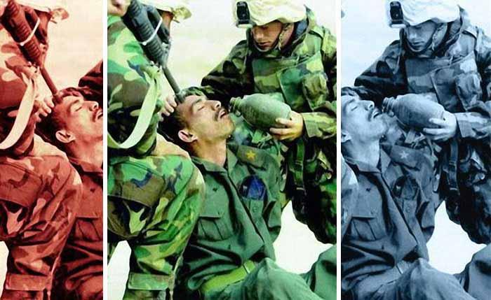 soldati americani ajuta un irakian