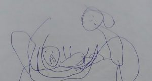 desen găsit în ghiozdanul fetiţei