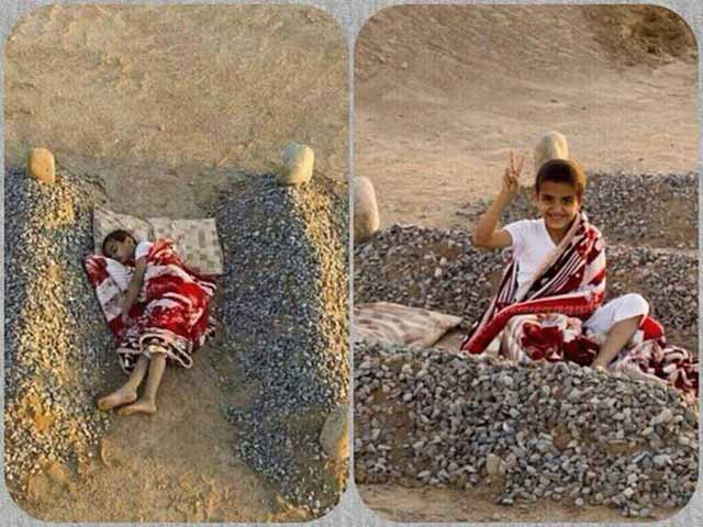baiat sirian intre mormintele parintilor
