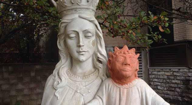 statuia lui iisus cu capul furat