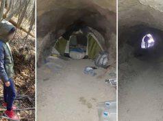 ascuns într-o peşteră
