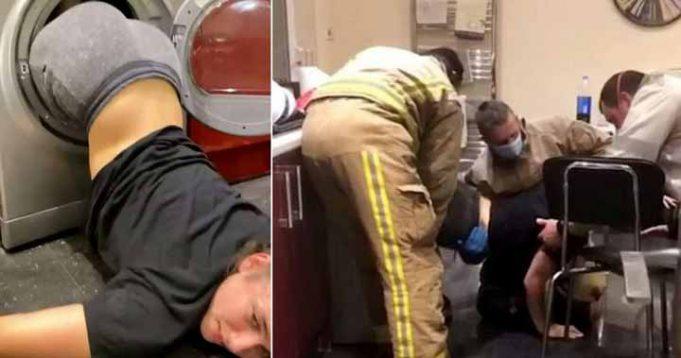 blondă blocată în maşina de spălat